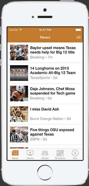 Texas Football news iphone